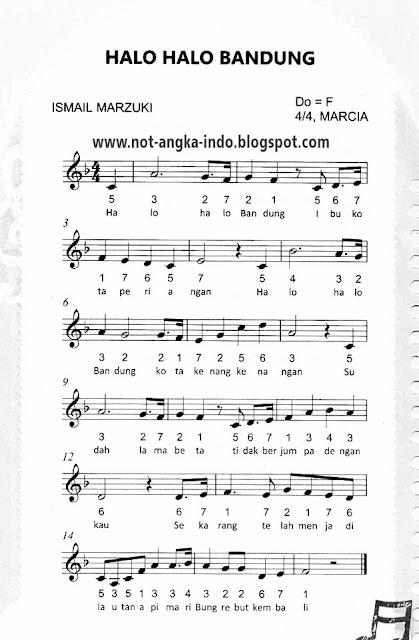 Not Angka Lagu Halo Halo Bandung