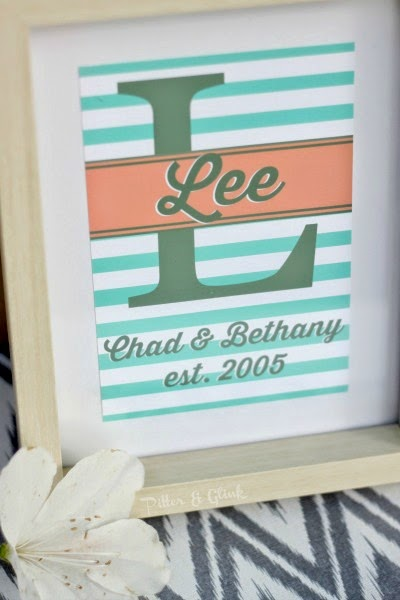 Create an inexpensive, personalized wedding gift using PicMonkey and digital scrapbook paper. pitterandglink.com