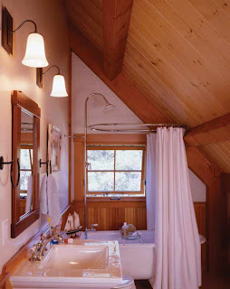 this post and beam bathroom features vintage charm