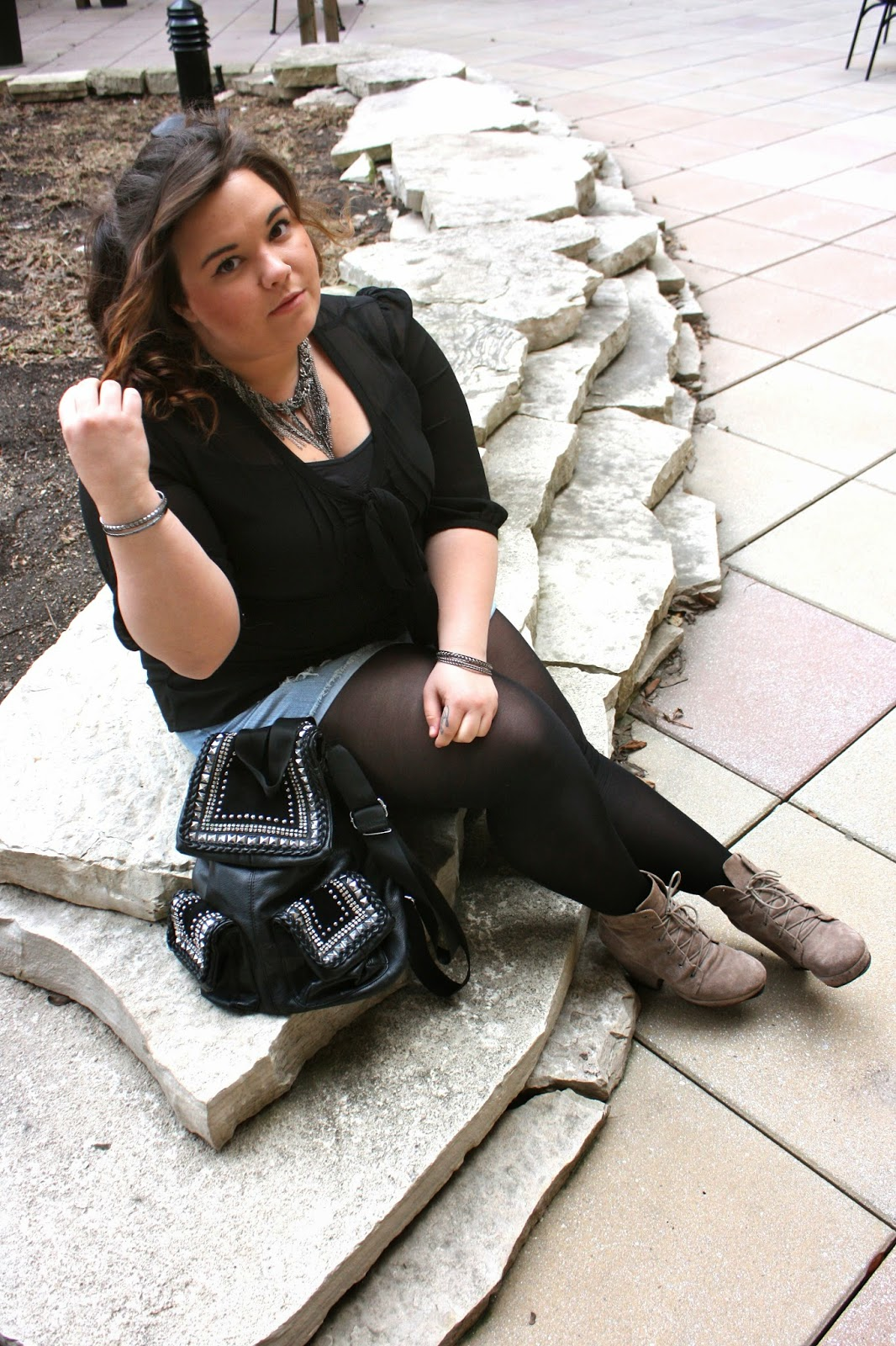 ecote boots, urban outfitters, chiffon blouse, chain necklace, blonde, curly hair, ombre, pony tail, ankle boots, studded backpack, shorts, plus size fashion blogger, natalie craig, natalie in the city, chicago blogger network, chicago fashion
