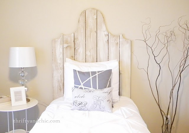 Someday Crafts Whitewashed Headboard And Funky Pillow