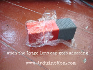 lytro camera with plastic wrap lens cover
