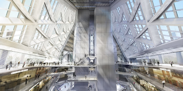 Rendering of Russia Tower lobby interior