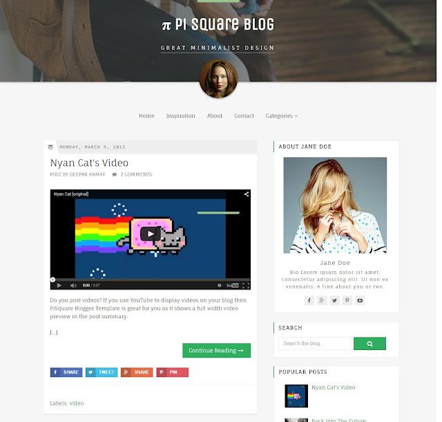 PiSquare Minimalist Blogger Template SEO Terbaru 2015