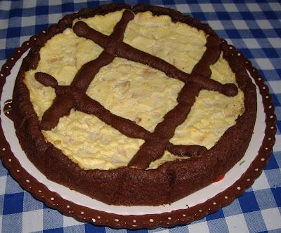 Crostata al cacao con ricotta e pere