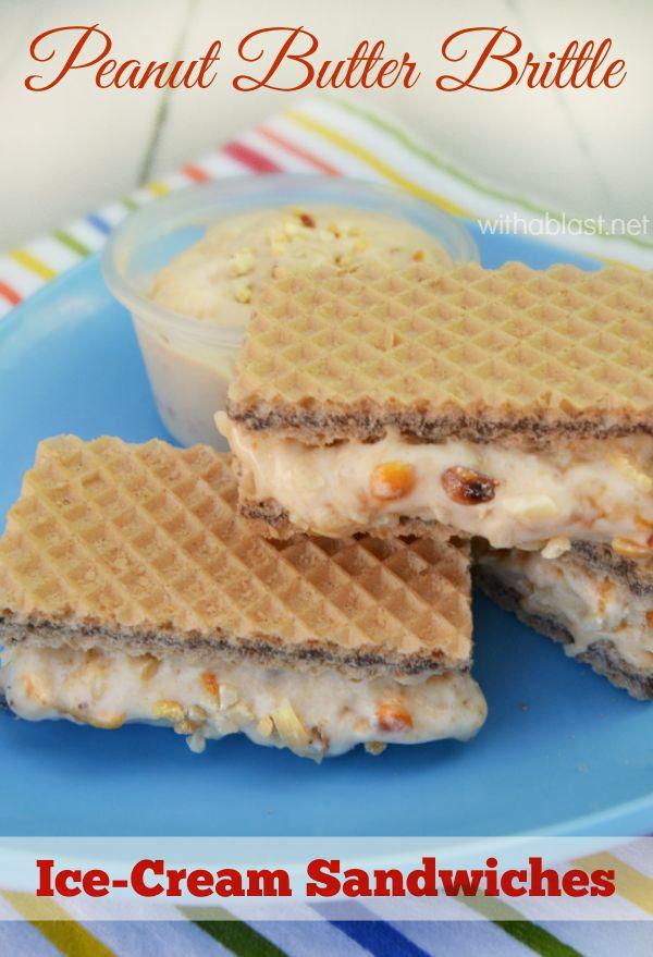 Peanut Butter Brittle Ice-Cream Sandwiches
