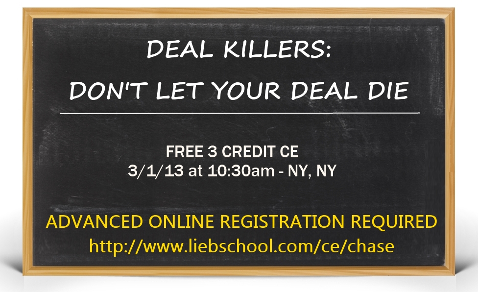 Free CE Class in NYC 3/1/2013 - Deal Killers