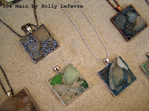 sea glass pendants 504 Main by Holly Lefevre