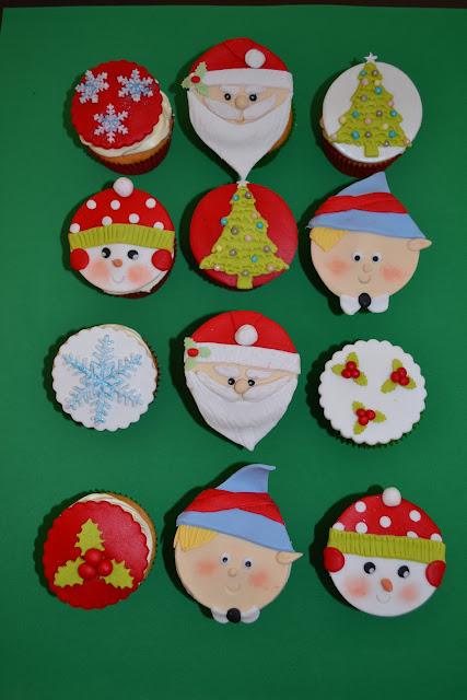 cupcakes modelados Navidad fondant papa noel