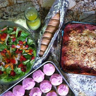Vegetarian Lasagna with Lettuce Salad, Creamy Italian Dressing, Garlic Scape Bread and Hot Milk Cupcakes - FoyUpdate