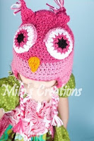 Pink Crochet Girls Owl Hat