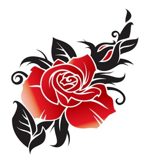 Tatouage tribal avec une rose rouge grande Tatouage  - tatouage tribal avec rose