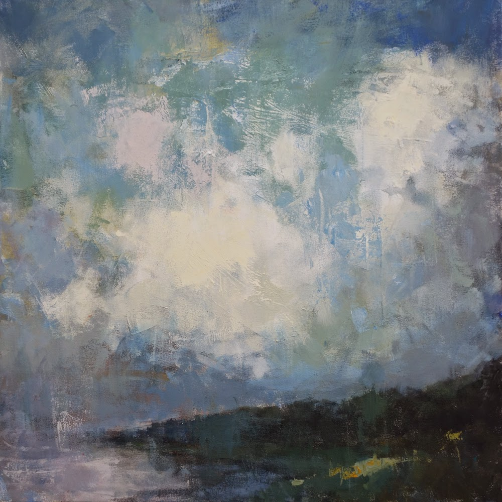 Impressionist landscape painting of a cloud-filled sky reflected in a sliver of ocean by artist Steve Allrich.