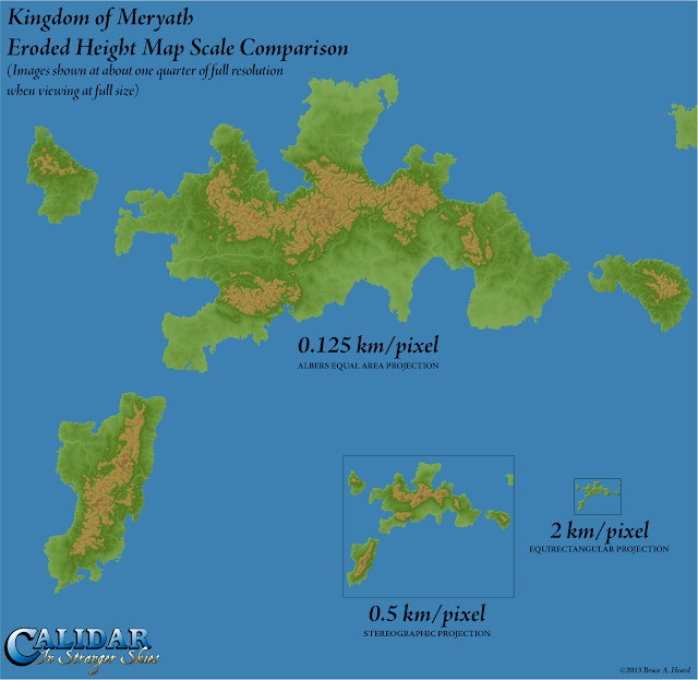 Kingdom of Meryath, Calidar, Eroded Height Map Scale Comparison, Albers Equal Area, Stereographic Projections