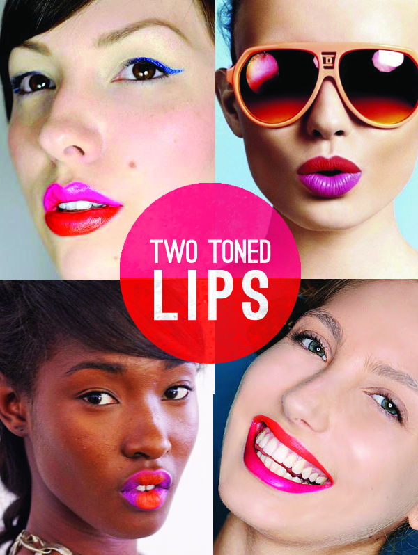 2 toned lips - pink and red