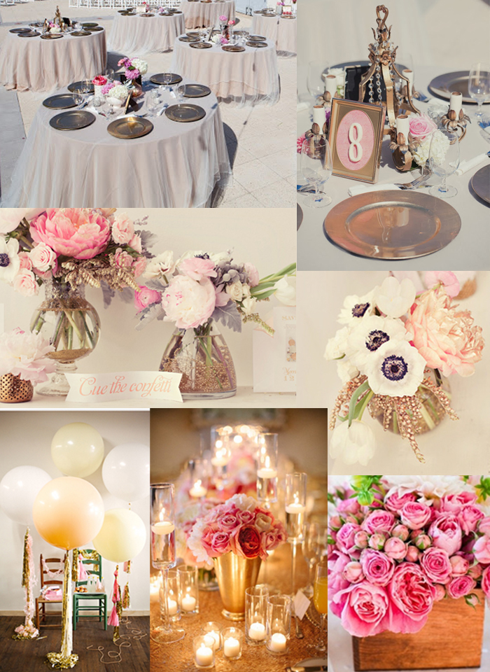 Gold Tulle Overlay Small Pink Flower Centerpieces Accents Lots Of Candles Geronimo Balloons