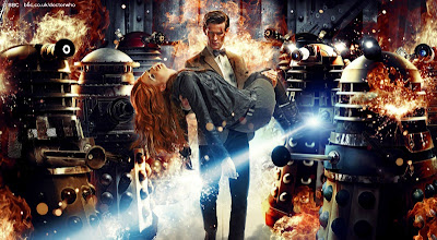 Dr Who - Asylum of the Daleks, the Doctor carries an unconscious Amy Pond past a load of daleks