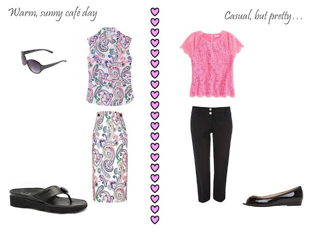 Two outfits from a 10 piece travel capsule wardrobe, for a romantic warm weather vacation
