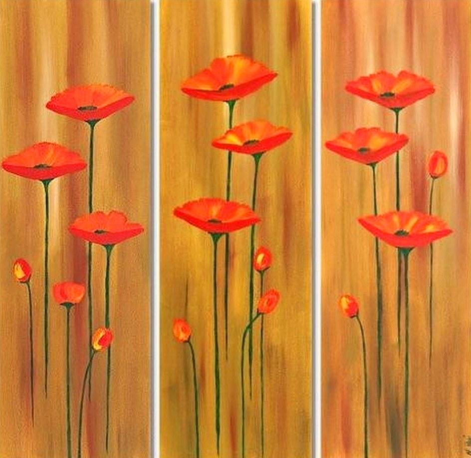 tripticos modernos con flores cuadros modernos con flores pintados