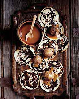 Small Chocolate and Vanilla Pancakes With Chocolate Ice Cream and Fudge Sauce