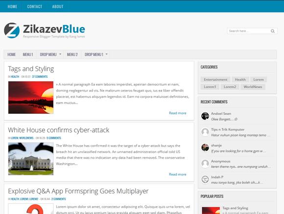 Zikazev Blue Responsive Blogger Template
