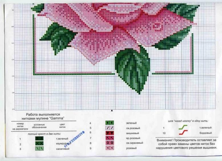 Схема вышивки розовых цветов 988