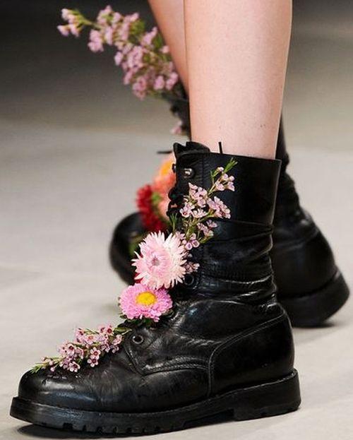 flower combat boots