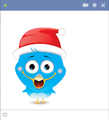 Bird Icon with Santa Hat