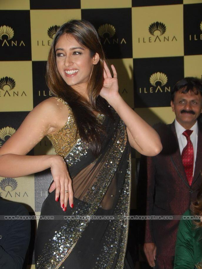 Ileana Standing Stills in Hot Black Transparent Saree