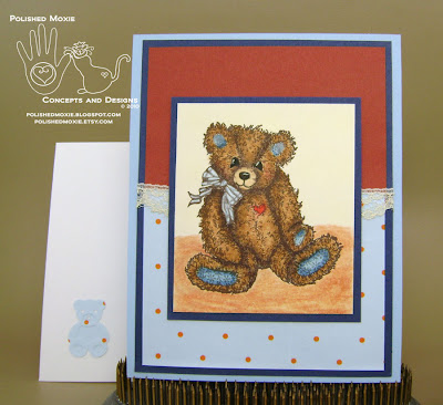 Picture of my lace embellished teddy bear card and its coordinating envelope