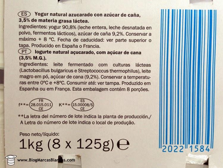 Ingredientes del yogur natural con azúcar de caña (3,5% grasa) MILBONA de Lidl.