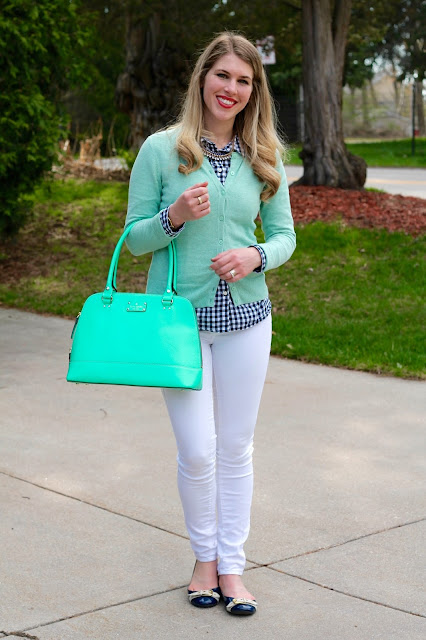 blue gingham button up, mint cardigan, white jeans, navy flats, mint Kate Spade bag