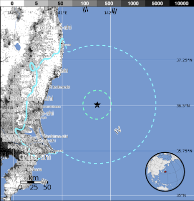 Epicentro sismo 5,7 grados en Japón, el 03 de Diciembre de 2013