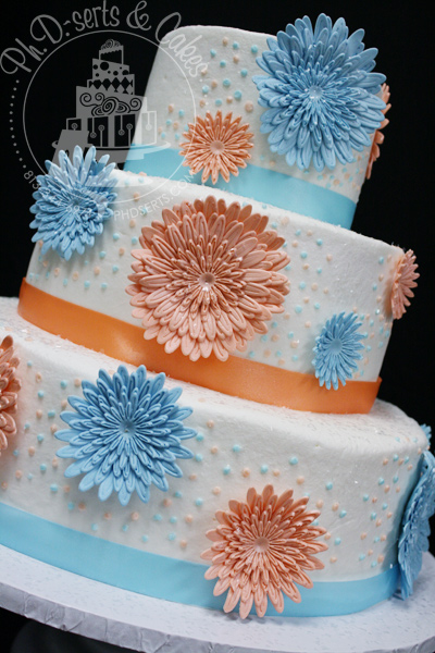 Orange & Blue Daisy Wedding Cake   Ph.D.-serts & Cakes