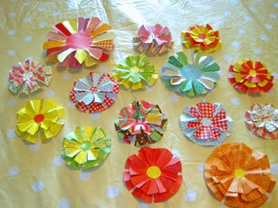 Great ideas fabric and paper flower projects make some paper rosette flowers sweet bee buzzings mightylinksfo