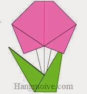 Bước 18: Cắm cánh hoa đã hoàn thành ở Bước 10 vào giữa khe của cành hoa để hoàn thành cách xếp bông hoa bằng giấy origami đơn giản.
