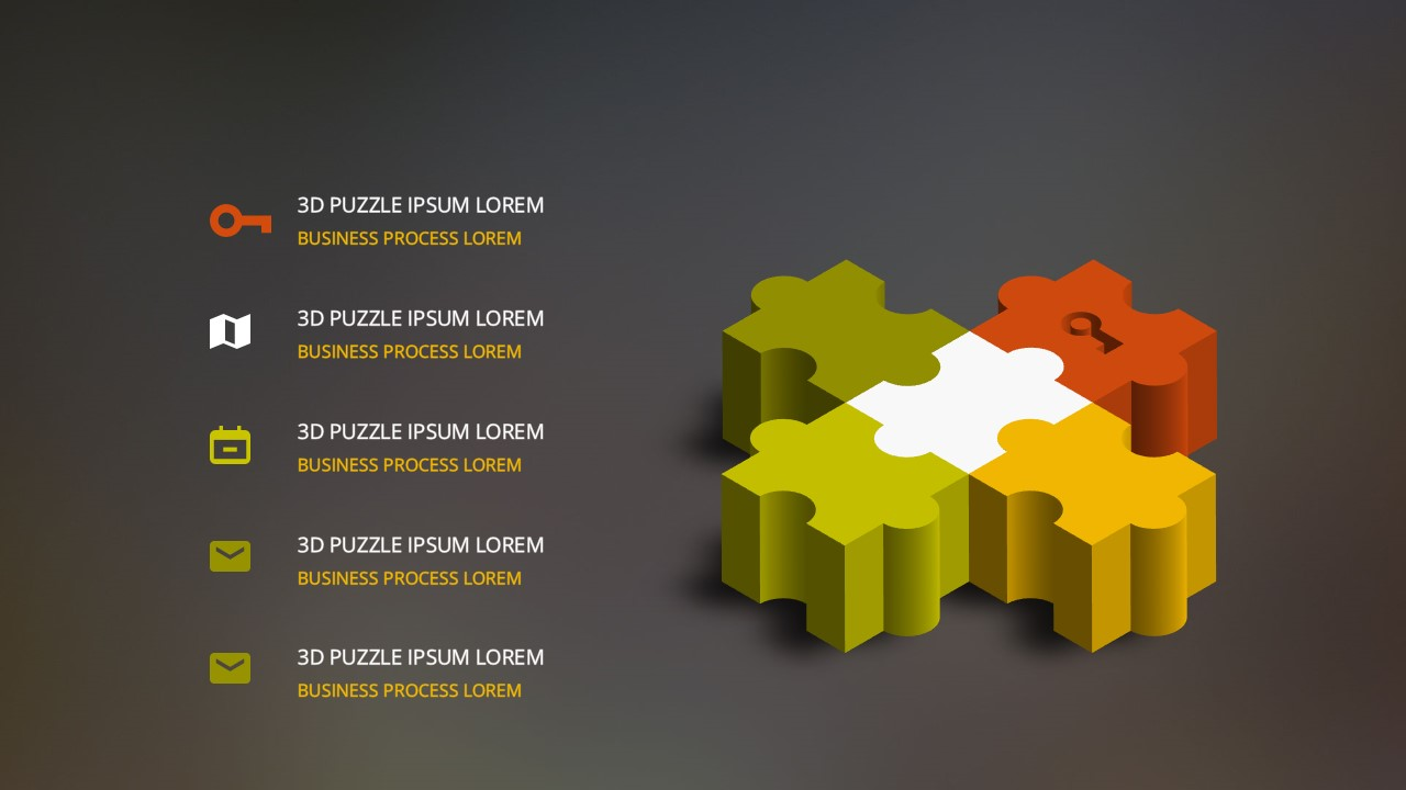 free powerpoint template with 3d light bulb and puzzle pieces, Modern powerpoint