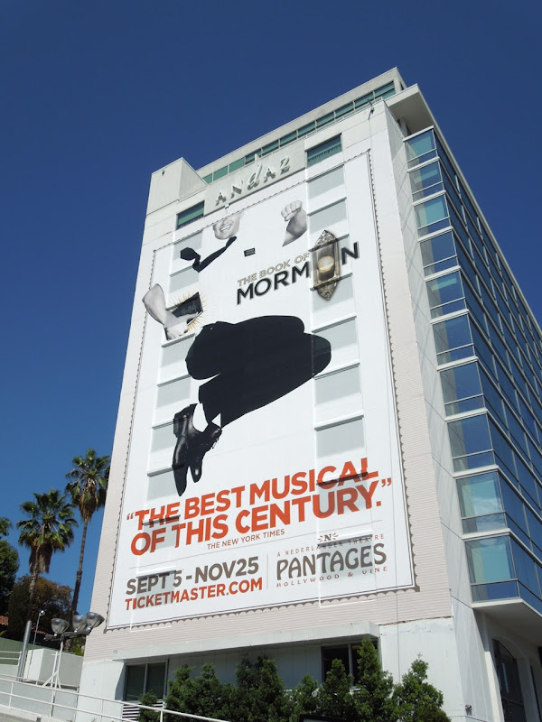 Giant Book of Mormon musical billboard