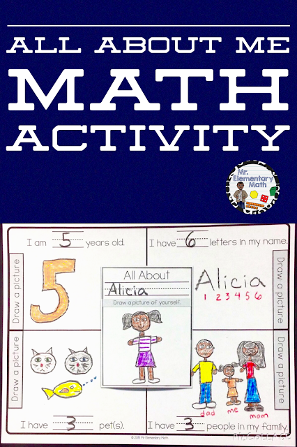 Engaging All About Me math activity for Kindergarten and 1st grade students.