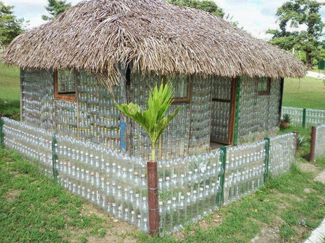 Best out of waste idea make a house using old plastic for Making hut with waste material