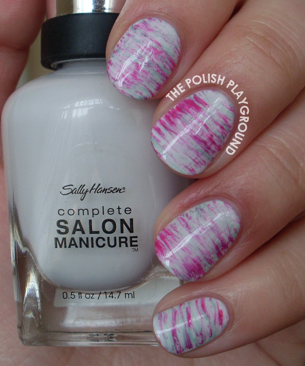 Mint and Pink Haze Nail Art