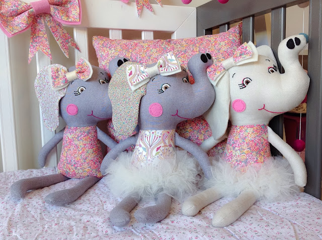 Liberty Elephant Dolls Sitting Together