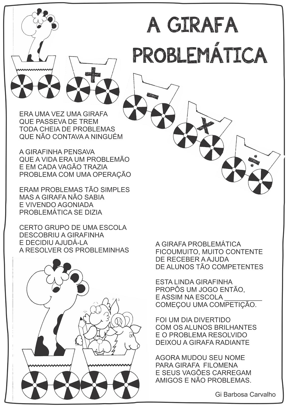 Jogo Pedagógico A Girafa Problemática com Modelo de Painel