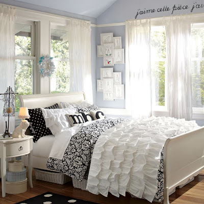 Home quotes stylish teen bedroom ideas for girls for Black and white girls bedroom ideas