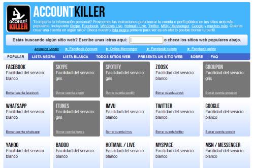 Account Killer: Información para borrar tu cuenta de los sitios más populares de la web