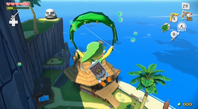 Link gliding with Magic Leaf in The Legend of Zelda: The Wind Waker HD