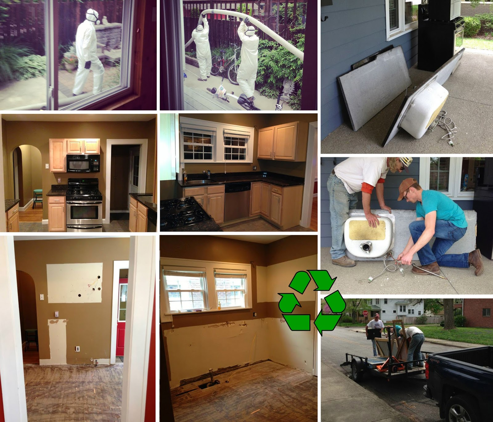 Main house remodel: asbestos removal and repurposing of existing kitchen.