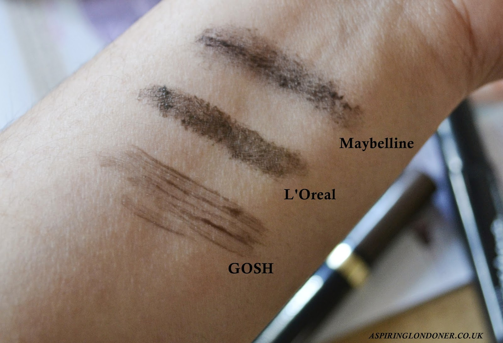 Brow Mascara Review & Swatch ft L'Oreal, GOSH & Maybelline - Aspiring Londoner