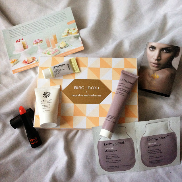 beauty, subscription box, unboxing, Cupcakes and Cashmere, Birchbox, Dr. Jart, Living Proof, Chosungah, Naobay, Raw Spirit, orange lipstick, tinted moisturizer, hair care, skin care, moisturizer, perfume, lipstick