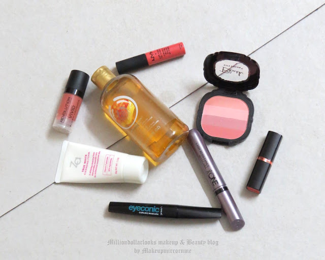 Monthly Makeup & Beauty Favorites: August 2015 Edition, Indian makeup and beauty blog, Indian beauty blogger, Makeup revolution vivid blush lacquer, Oriflame the one lash resistance mascara, Lakme eyeconic curling mascara, City color cosmetics Multi blush baby pink, Nyx soft matte lip cream ant werp, Maybelline colorshow lipstick orange icon, Za true white cleansing foam, The Body Shop HoneyMania shower gel, August month favorites, Delhibloggers